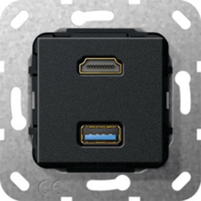 """GIRA Basiselement HDMI """"High Speed with Ethernet"""" en USB 3.0 Type A Verloopkabel Wandcontactdoos - Zwart"""