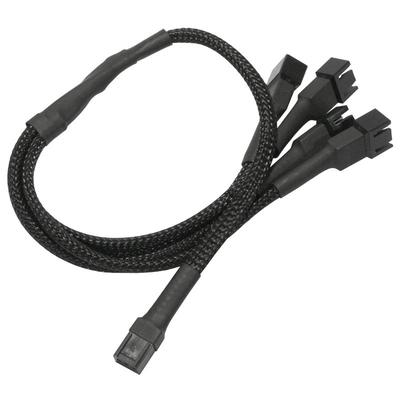 Nanoxia 3-Pin Molex to 4 x 3-Pin Adaptor, 30 cm - Zwart