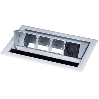 Kindermann Desktop Casing for 4 Insets-RAL 9006, 1 x mains socket Inbouweenheid - Aluminium, Zwart