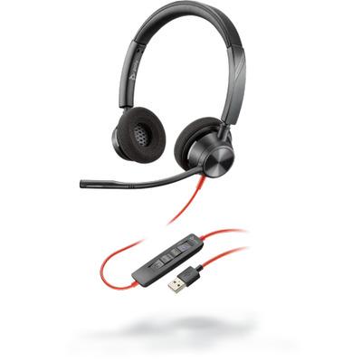 POLY Blackwire 3320 Headset - Zwart, Rood