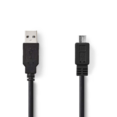 Nedis USB 2.0-Kabel, A Male - Micro-B Male, 2,0 m, Zwart USB kabel
