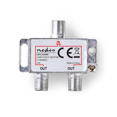 Nedis SSPL200ME Kabel splitter of combiner - Zilver