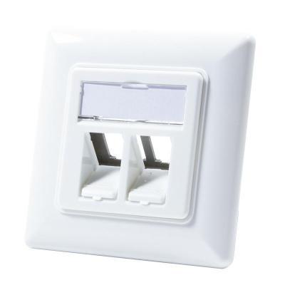 Logilink wandcontactdoos: Keystone Faceplate for 2 Keystone Jacks - Wit