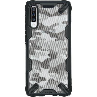 Ringke Fusion X Design Backcover Samsung Galaxy A70 - Camo Zwart - Camouflage zwart Mobile phone case
