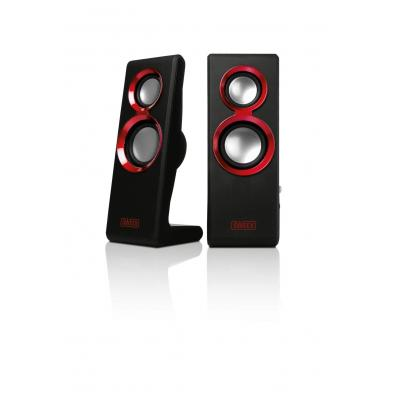 Sweex luidspreker set: 2.0 Speaker Set Purephonic 20 Watt Red USB - Zwart, Rood