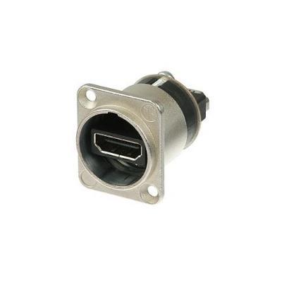 Neutrik kabel connector: HDMI 1.3 feedthrough adapter met D-form behuizing - Zilver