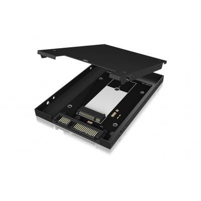 Icy box behuizing: Converter mSATA SSD/2.5'' SSD - Zwart