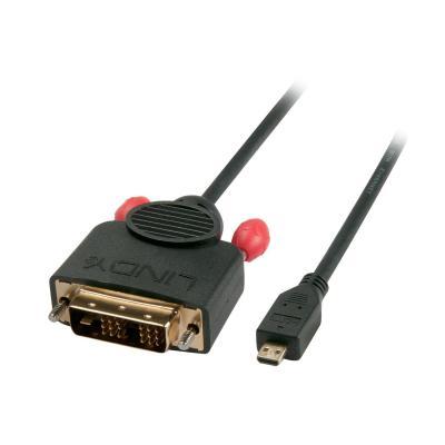 Lindy 0.5m, Micro HDMI/DVI-D - Zwart