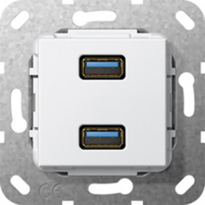GIRA Basiselement USB 3.0 Type A tweevoudig Verloopkabel Wandcontactdoos