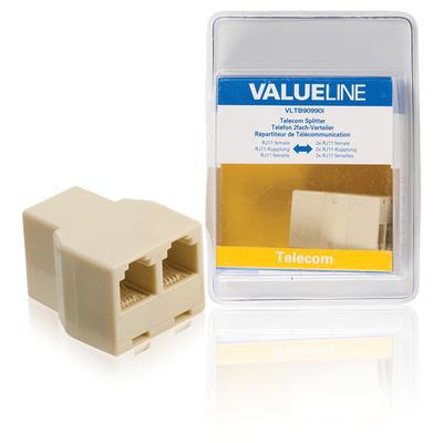 Valueline Telecomsplitter RJ11 vrouwelijk - 2x RJ11 vrouwelijk ivoor Telefoon splitter