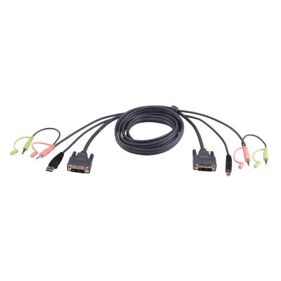 Aten 5M USB DVI-D Dubbelvoudige Link KVM kabel - Zwart