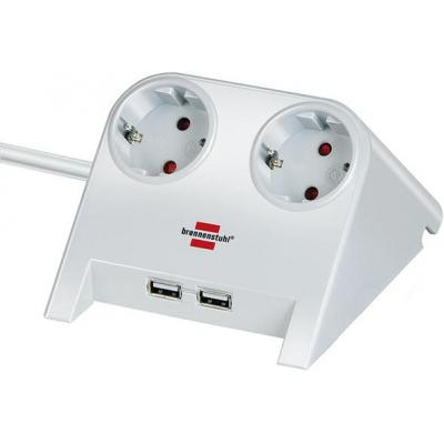 Brennenstuhl power extrention: Desktop-Power USB-Charger with 2x USB-2.0 charger 2100mA 2-way socket, white polished .....
