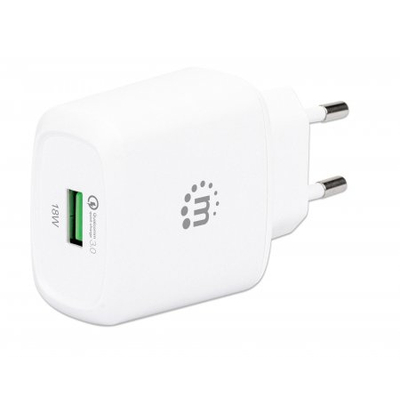 Manhattan Wall Charger (Euro 2-pin), USB-A Port, Output: 1x 18W (Qualcomm Quick Charge), White, Box Oplader - .....