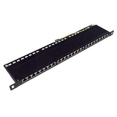 "LogiLink 24x RJ-45, Cat 6e 250 MHz, 19"", black Patch panel - Zwart"