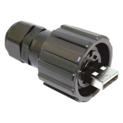 Conec USB2.0 Typ A, IP67 Kabel connector - Zwart