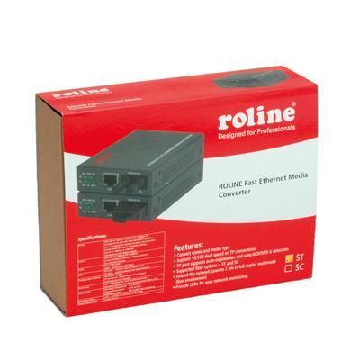 ROLINE RC-100FX/ST Fast Ethernet Converter, RJ-45 to ST, Loop-back Media converter