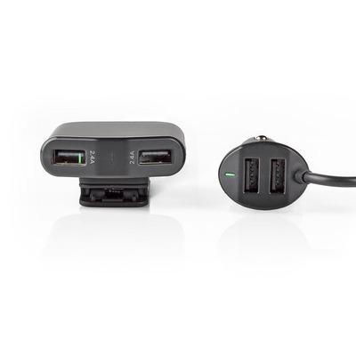Nedis Auto-oplader, 9,6 A, 4 uitgangen, USB-A, Zwart Oplader