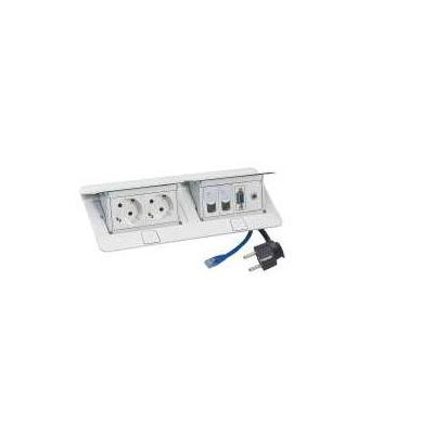 C2g wandcontactdoos: White 2 Socket 2P+E - 2xRJ45 Data Socket- German Standard - Wit