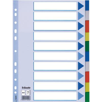 Esselte 225 x 3 x 297mm, A4, 1 - 10 Indextab - Multi kleuren