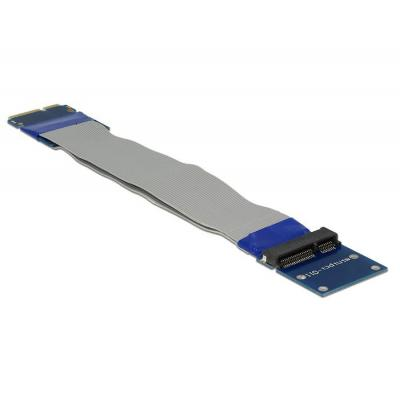 Delock interfaceadapter: Extension Mini PCI Express / mSATA male > slot riser card with flexible cable 13 cm - Zwart, .....