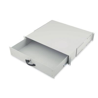 Digitus 2U lockable drawer with handle 88x481x400 mm, color grey (RAL 7035) Rack toebehoren - Grijs