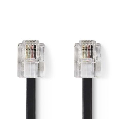 Nedis Telecom Cable, RJ-11 Male - RJ-11 Male, 5 m, Black Telefoon kabel - Zwart