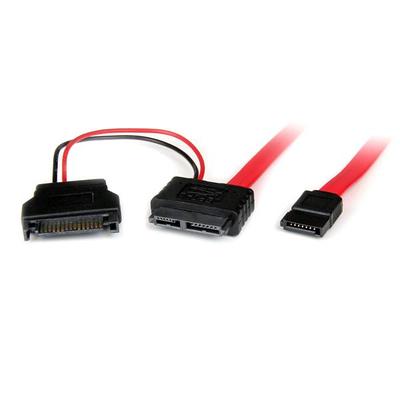 StarTech.com 0.5m SATA ATA kabel - Zwart, Rood