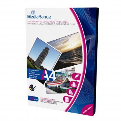 Mediarange fotopapier: DIN A4 Photo Paper for inkjet printers, dual-side matte-coated, 250g, 50 sheets - Wit