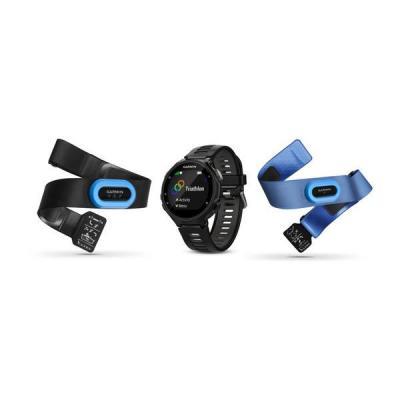 Garmin sporthorloge: 45 x 45 x 11.7 mm, 215 x 180 px, 44 g, Li-Ion, 24 h, 5 ATM, USB, GPS/GLONASS - Zwart, Blauw, Grijs