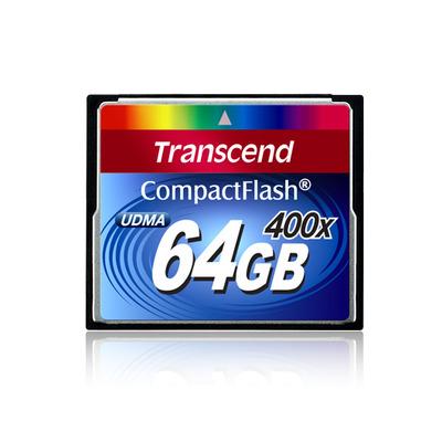 Transcend flashgeheugen: 400x CompactFlash Card, 64GB - Zwart