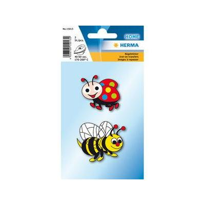 Herma naaiaccessoire: 2 pcs, Iron on sticker bee + ladybird - Multi kleuren