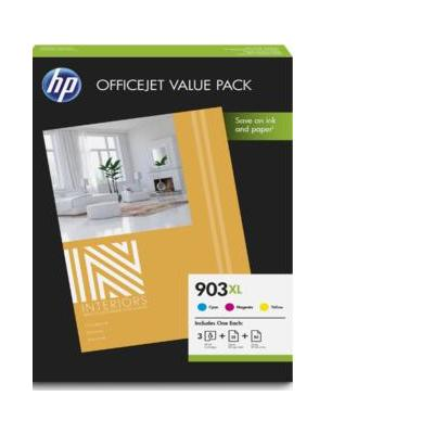 Hp inktcartridge: 903XL Office value pack, 75 vel/A4/210 x 297 mm - Cyaan, Magenta, Geel
