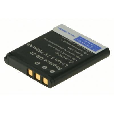 2-power batterij: Digital Camera Battery, Li-Ion, 3.7V, 750mAh, Black - Zwart