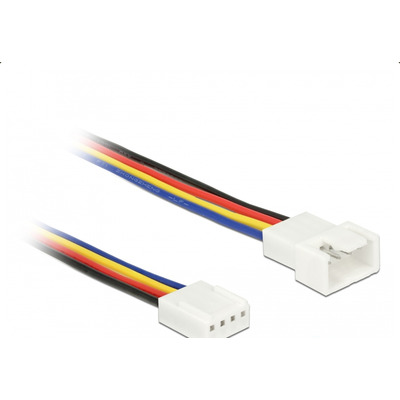 DeLOCK 1 x 4 pin fan connector male, 1 x 4 pin fan connector female, 20 AWG, 50 cm - Zwart,Blauw,Rood,Wit,Geel