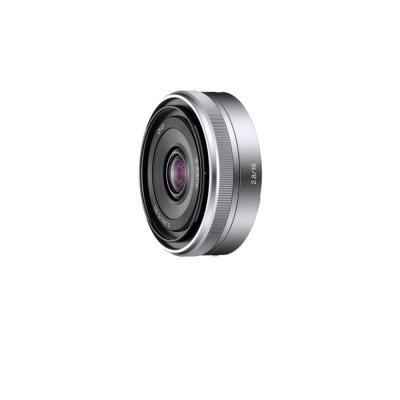 Sony camera lens: E 16 mm F2.8 'Pancake'-lens (groothoek). Alleen compatibel met camera's met E-bevestigingssysteem