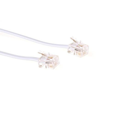 ACT RJ11 - RJ11 cable, White 5.0m Telefoon kabel - Wit