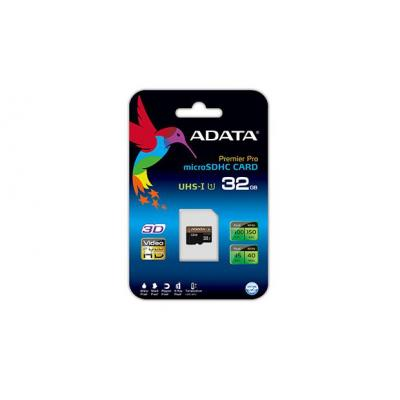Adata flashgeheugen: Premier Pro 32GB microSDHC - Zwart, Brons