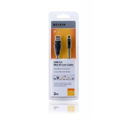 Belkin USB kabel: USB cable 4 PIN USB Type A (M) - mini-USB Type B (M), 3 m - Zwart