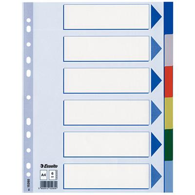 Esselte 225 x 1 x 297mm, A4, 1 - 6 Indextab - Multi kleuren