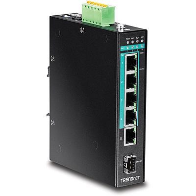 Trendnet Hardened Industrial, 5x RJ-45, Gigabit Ethernet, PoE+, DIN-Rail Switch - Zwart