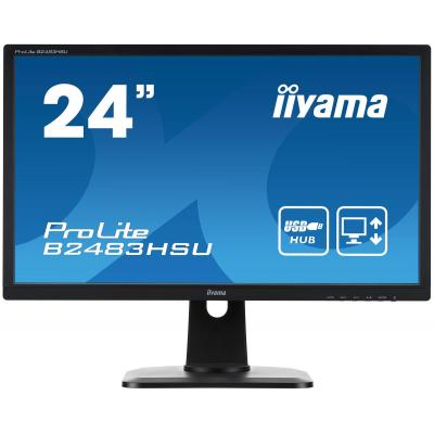 "Iiyama monitor: ProLite B2483HSU-B1DP 24"" Full HD TN - Business - Zwart"