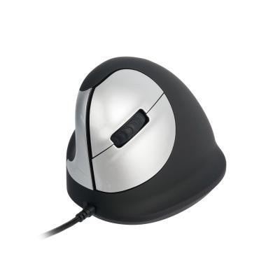 R-Go Tools HE Mouse USB - Medium - Linkshandig computermuis - Zwart, Zilver