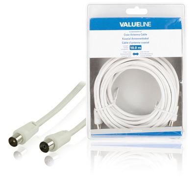Valueline Coax antennekabel, coax mannelijk - coax vrouwelijk, 10.0 m, wit Coax kabel