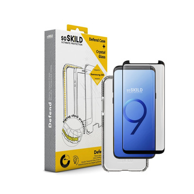 SoSkild Defend Heavy Impact Case Transparant and Tempered Glass for Samsung Galaxy S9 Mobile phone case