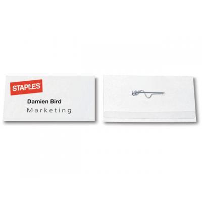 Staples naambadge: Naambadge SPLS 40x75mm met pin/ds 100