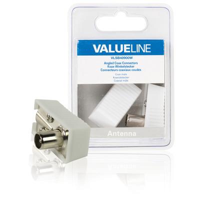 Valueline Gehoekte coax connectoren, coax mannelijk, wit coaxconnector