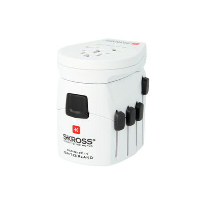 Skross stekker-adapter: PRO – World & USB - Wit