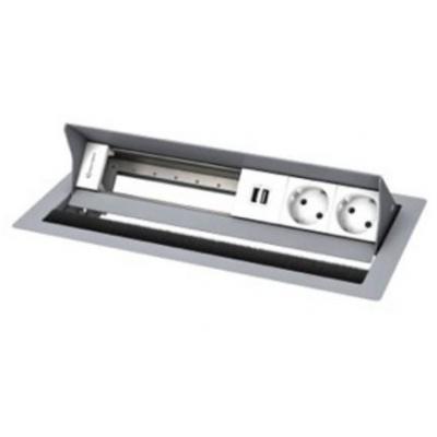 Kindermann 6-fold, 2x pwr/usb Inbouweenheid - Zilver, Wit