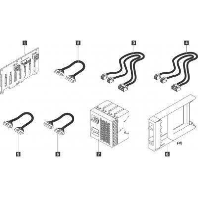 "Lenovo ThinkSystem SR550/SR650 2.5"" SATA/SAS 8-Bay Backplane Kit Rack toebehoren"