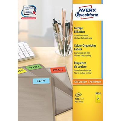 Avery 70 x 37 mm, 2400 pcs, A4, geel Etiket